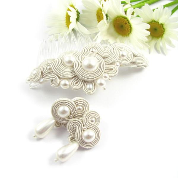 perłowa biżuteria ślubna z sutaszu