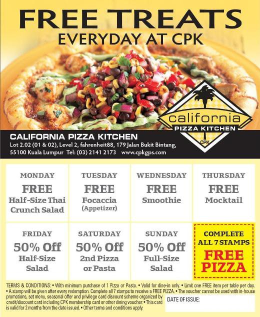 FREE Treats Everyday at California Pizza Kitchen, Fahrenheit88