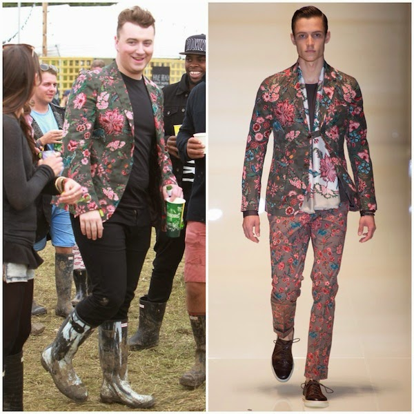Sam Smith in Gucci Spring Summer 2014 military green flower print cotton viscose jacquard blazer jacket and Hunter paint like Nightfall rubber Wellington rubber boots at Glastonbury Music Festival 2014