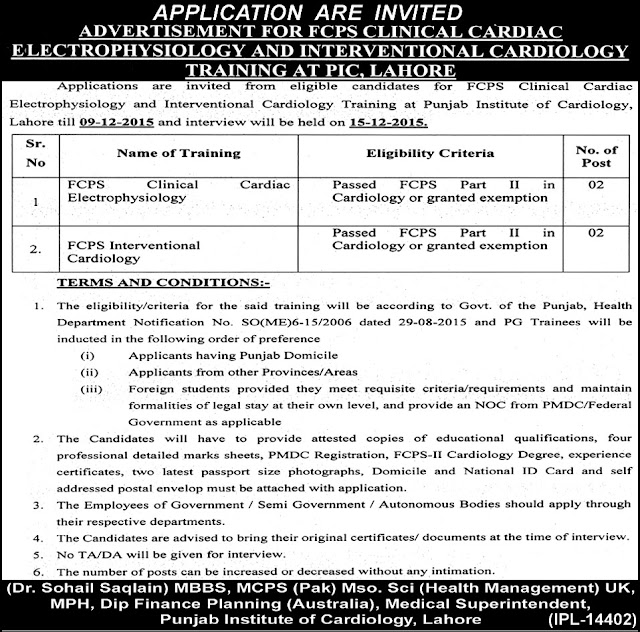 FCPS Doctors Jobs in Punjab Institute of Cardiology Lahore