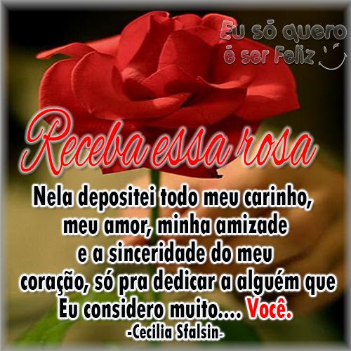 Receba essa rosa Nela depositei todo o meu carinho, meu amor, minha amizade e a sinceridade do meu coração só pra dedicar a alguém que eu considero mtuito... Você! -Cecília Sfalsin-