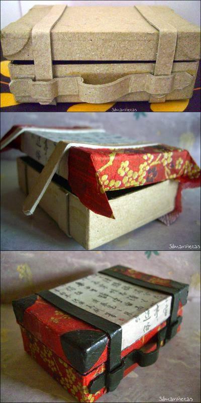 Maleta de cartón, decorada con servilleta y periódico