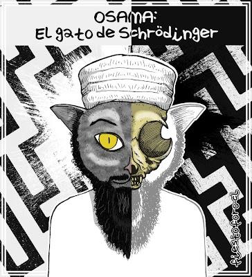 Caricatura de Osama Bin Laden como gato de Schrödinger
