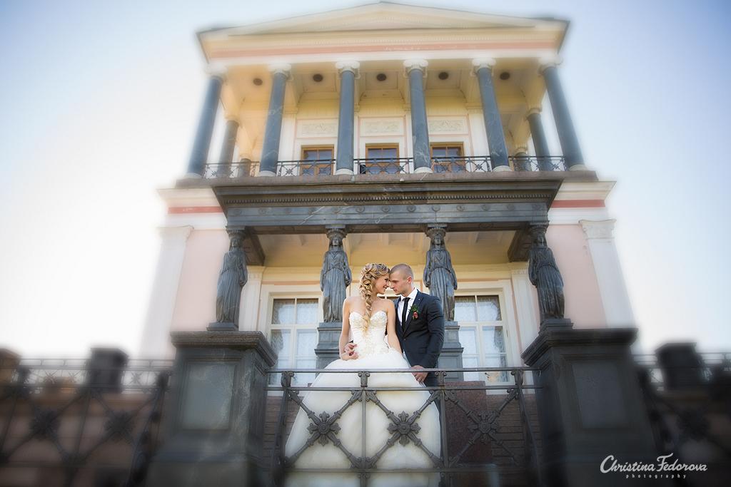 жених и невеста на фоне дворца