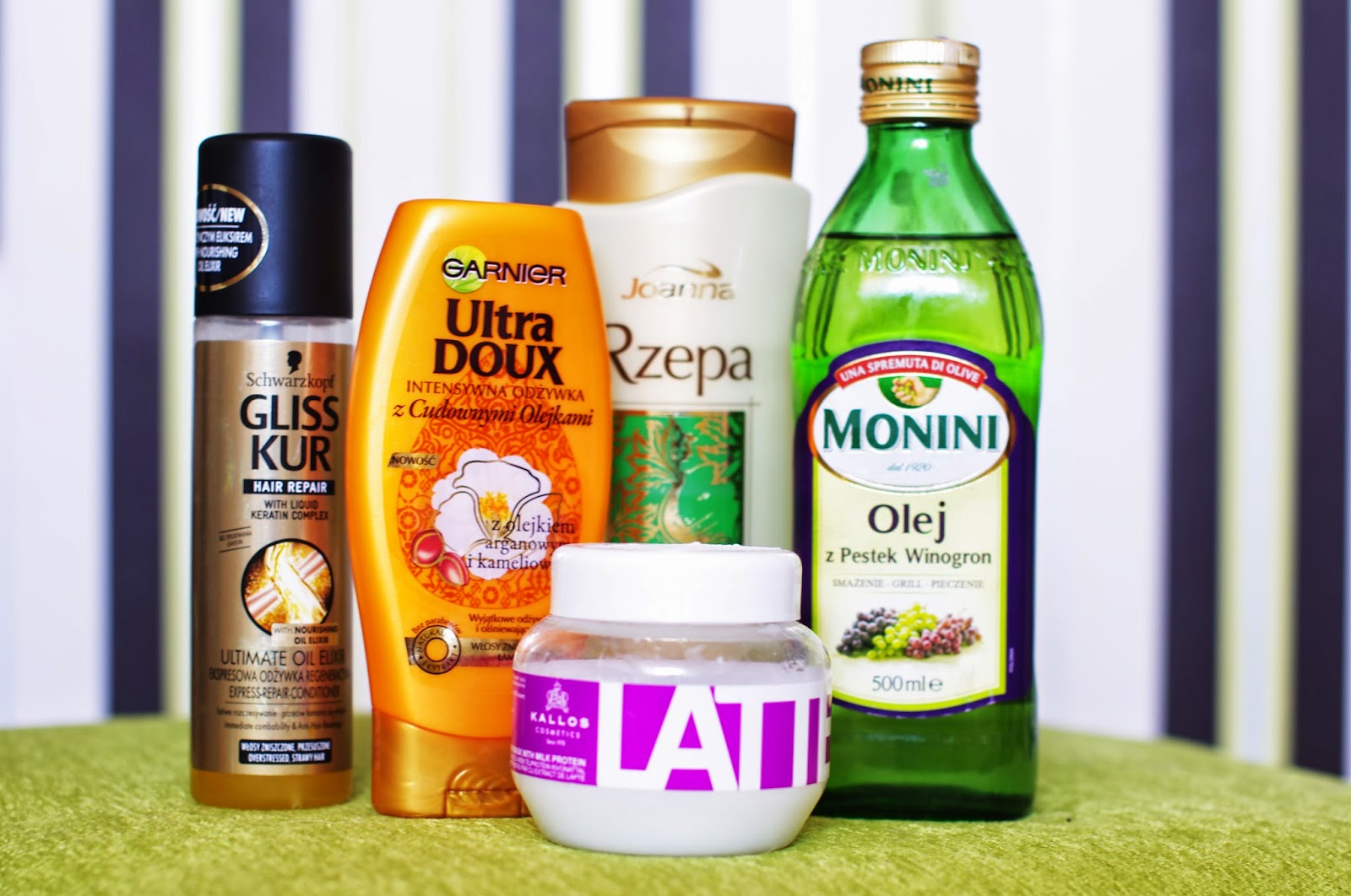 jak dbać o długie włosy, szampon joanna, maska kallos latte, olej z pestek winogron, garnier, gliss kur
