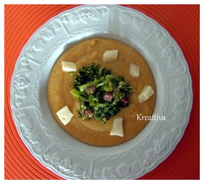 Polenta con funghi, broccoli e asiago