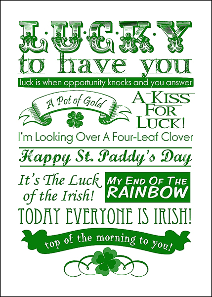 St. Patrick's Day Free Subway Art Printable. Click for more holiday #freeprintables