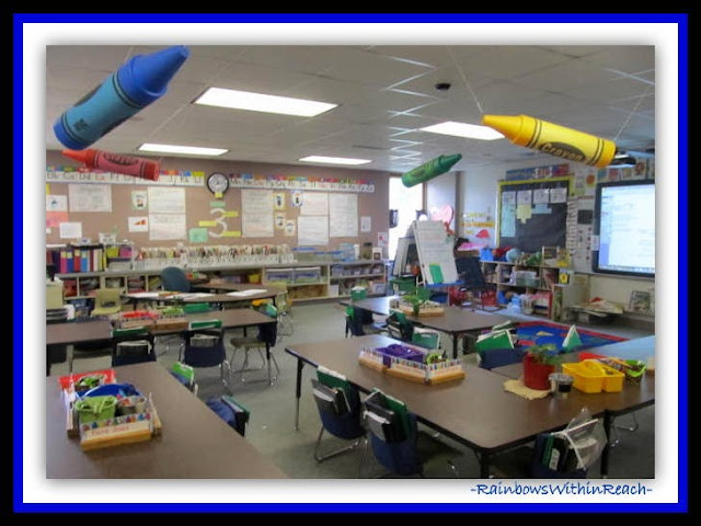 Kindergarten Classroom Overview (Classroom Decor RoundUP at RainbowsWithinReach)