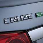 "The discreet ""ECO"" badge on trunklid of blue 2012 Chevrolet Cruze ECO"