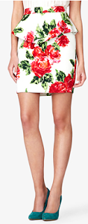 Rose Print Peplum Skirt Floral Forever21