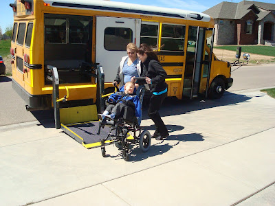 Kinnick kay and carver lee carver 39 s 1st day of pre school for 2 story wheelchair lift