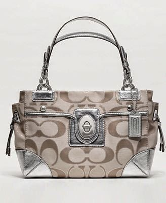 Coach PEYTON Signature Satchel Metallic Carryall Purse Blogger Opp. Event starts 7/28.
