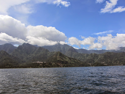 View of Lake Atitlan from a kayak