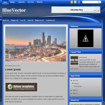 VectorBlue blogger template. template blogspot magazine style. blue color background blogger template