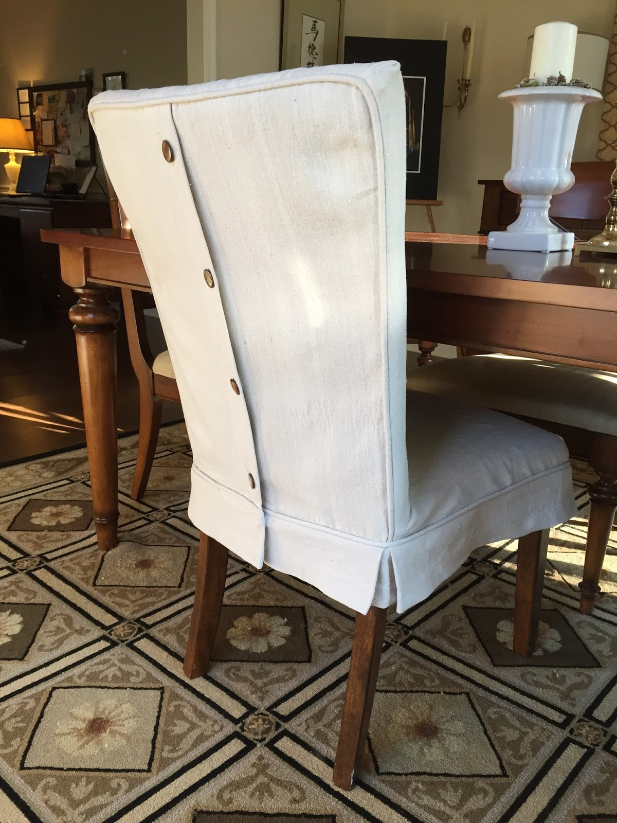 Pam Morris Sews: Dropcloth Slipcovers for Leather Parsons ...