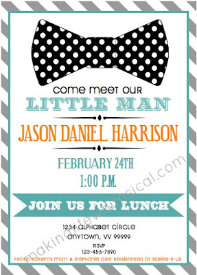 Little Man Baby Man Shower Invitation