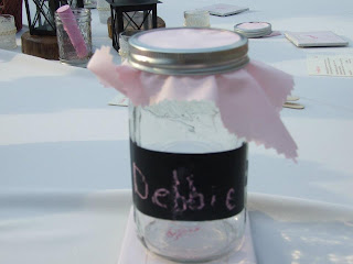 Full mason jar at wedding reception