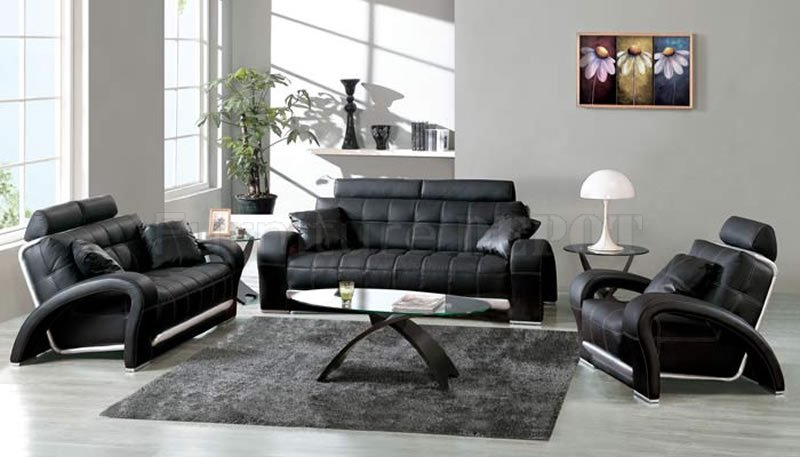 Black and white living room design ideas - Black livingroom furniture ...