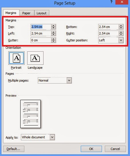 gambar margin pada dialog page setup