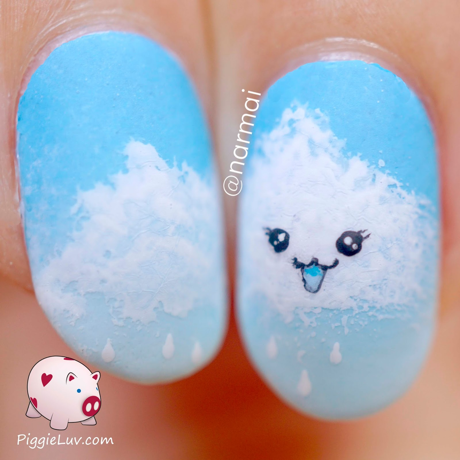 PiggieLuv: Cheeky kawaii cloud nail art
