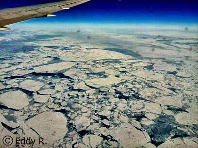 Flug über Grönland auf dem Weg nach DETROIT