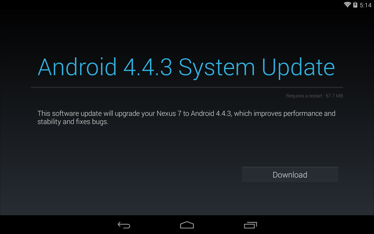 Nexus Seven (1St Generation) Have Android 4.4.3 Organization Update