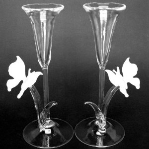 The unique wedding unique butterfly champagne toasting flutes - Unusual champagne flutes ...