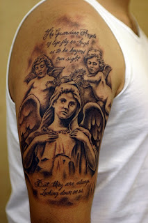 Black Ink Angel Tattoo Design on Arms