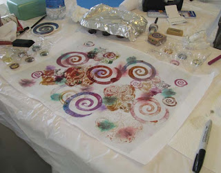 Deborah Younglao silk painting workshop: stamping