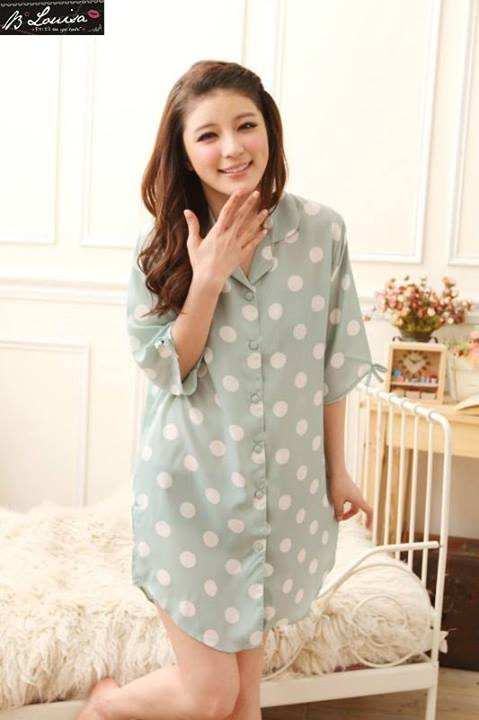 gambar Baju Tidur SL1021 Green Polkadot