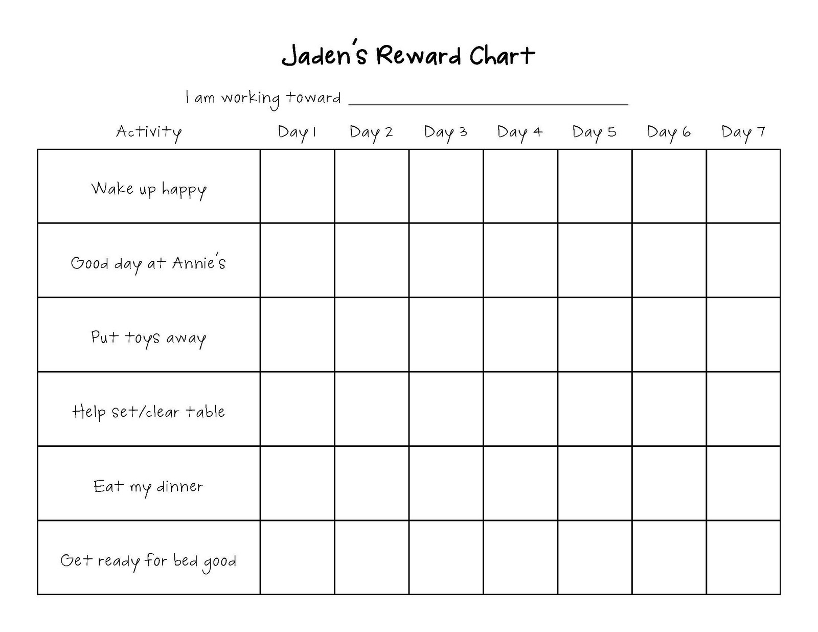 sticker rewards chart