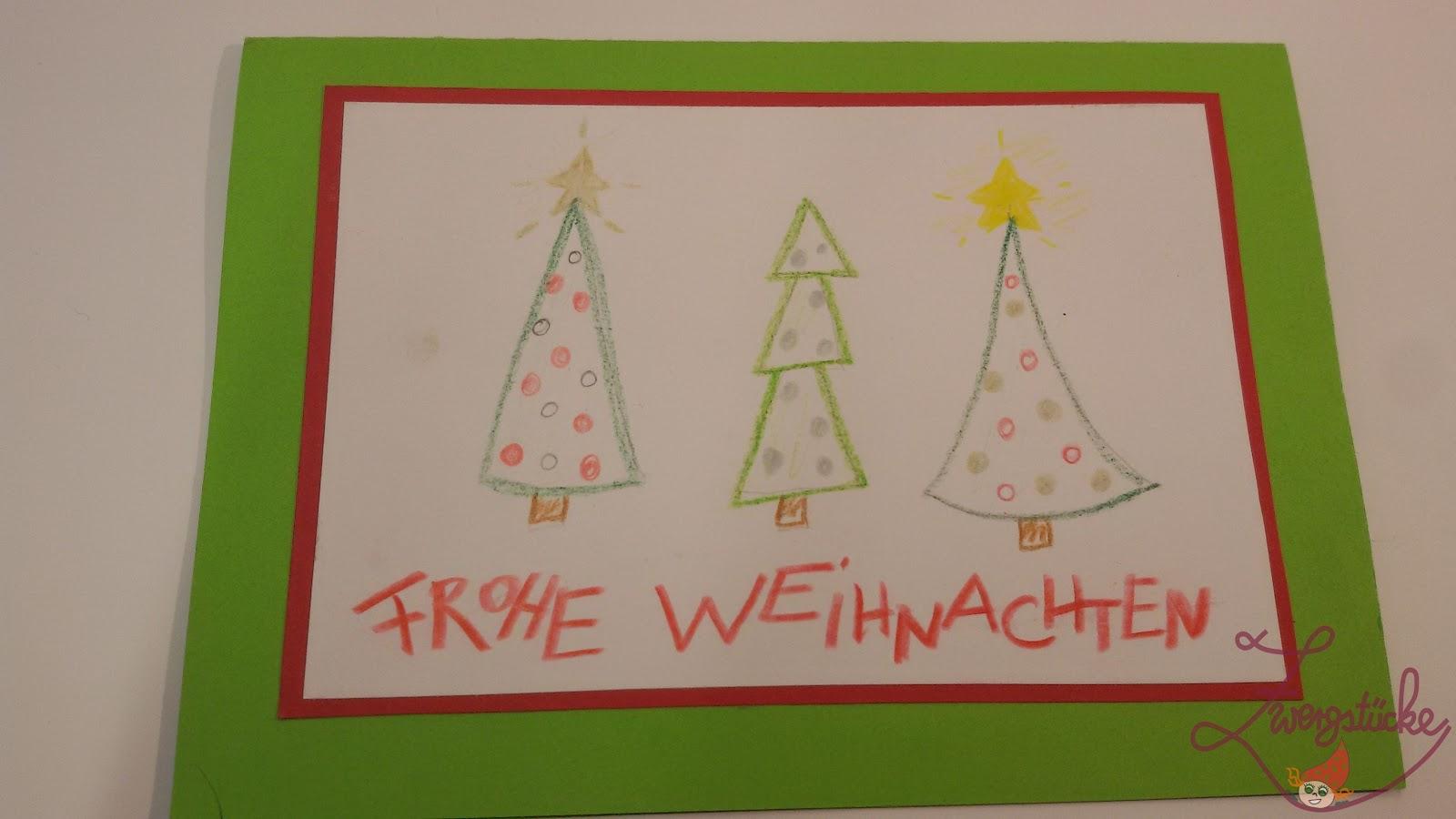 Zwergst cke basteln weihnachtskarten mit kindern gestalten - Weihnachtskarten basteln mit kindern ...