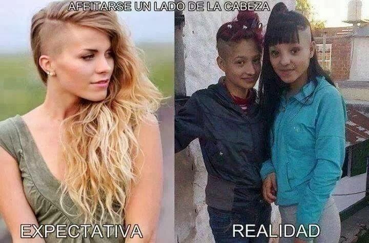 Chicas: afeitarse un lado de la cabeza, expectativa y realidad.