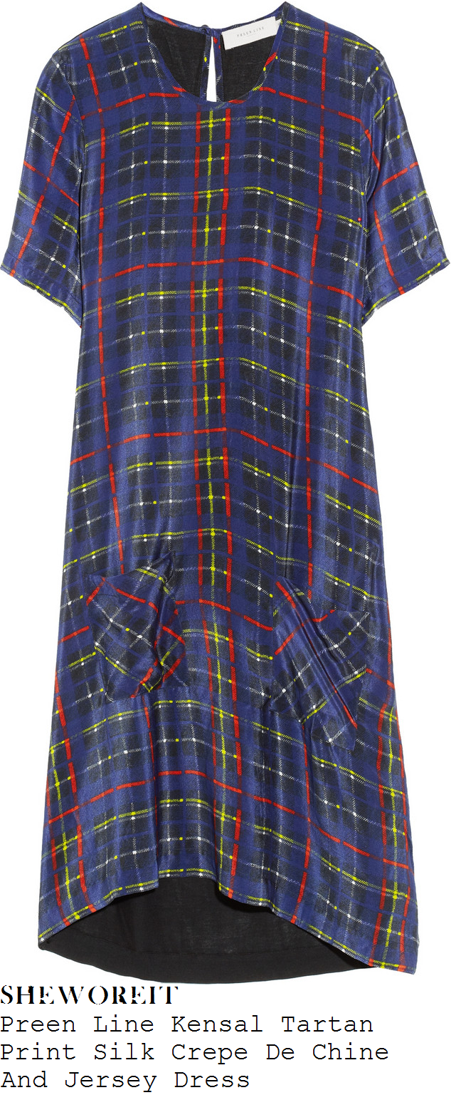 mollie-king-blue-short-sleeve-tartan-dress