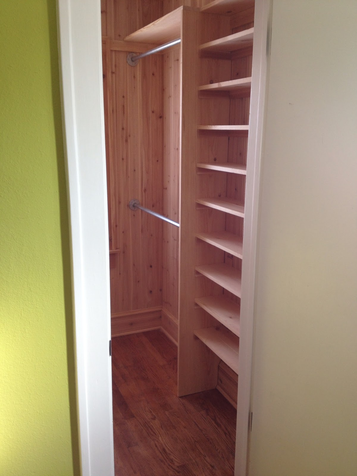 A new walk in cedar closet before and after brookside for Adding a walk in closet