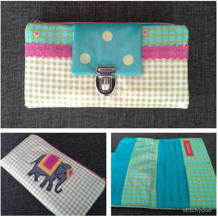 "Genähte Geldbörse / Portemonnaie aus Wachstuch mit Elefant-Applikation a la ""Malen mit der Nähmaschine"" 