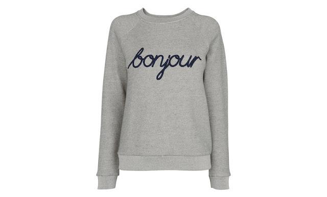grey bonjour sweater, whistles bonjour jumper,