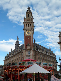 Chamber of Commerce belfry clock tower in Lille, France