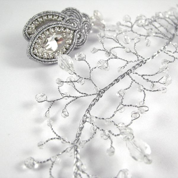 Stroik ślubny do włosów - kryształowa gałązka Airy