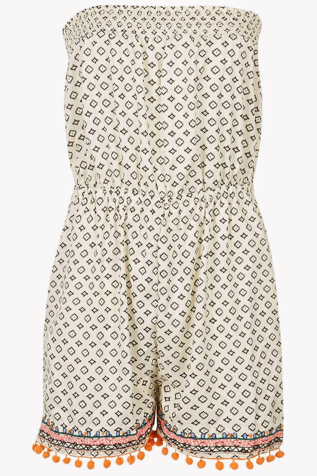 pom pom playsuit, white patterned playsuit,