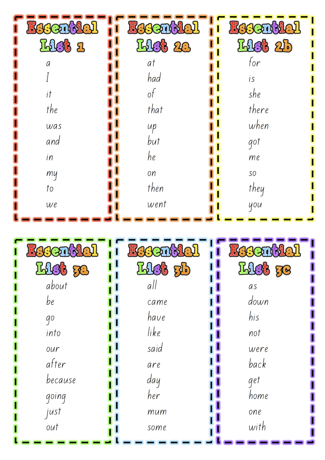 spelling or word work lists