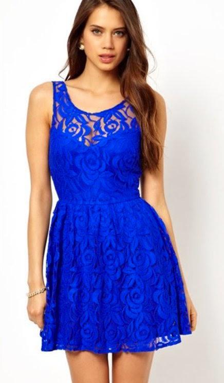 modelo de vestido curto de alças com renda azul - fotos e dicas
