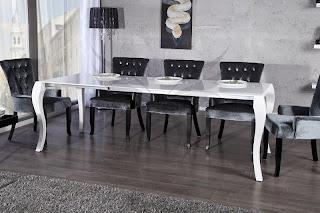 Luxusny jedalensky stôl v barokovom style, roztahovaci stol do kuchyne alebo jedalne, biely stôl