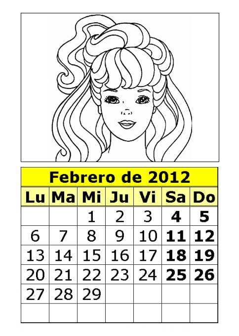 Calendario de la Barbie para colorear de 2012 (1ª parte ...