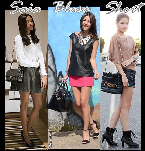 Saia Blusa Short e moda feminina  Couro+5