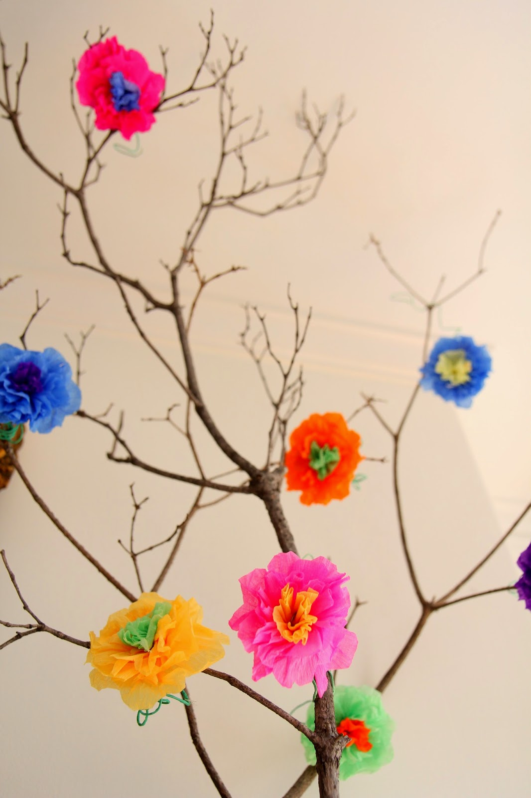 Mexican Crepe-Paper Flowers Decor; Cinco De Mayo Mantle Decor -- Nora's Nest