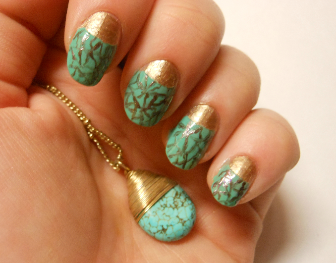 Guest Post Cracked Turquoise Nail Art Peonies And Lilies