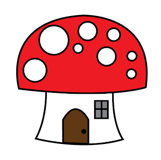 eri*doodle mushroom house red and white in png format