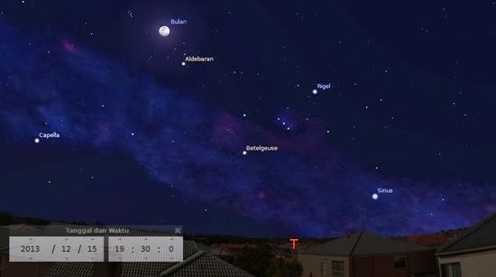 Bulan Ditemani Bintang Aldebaran Malam Ini