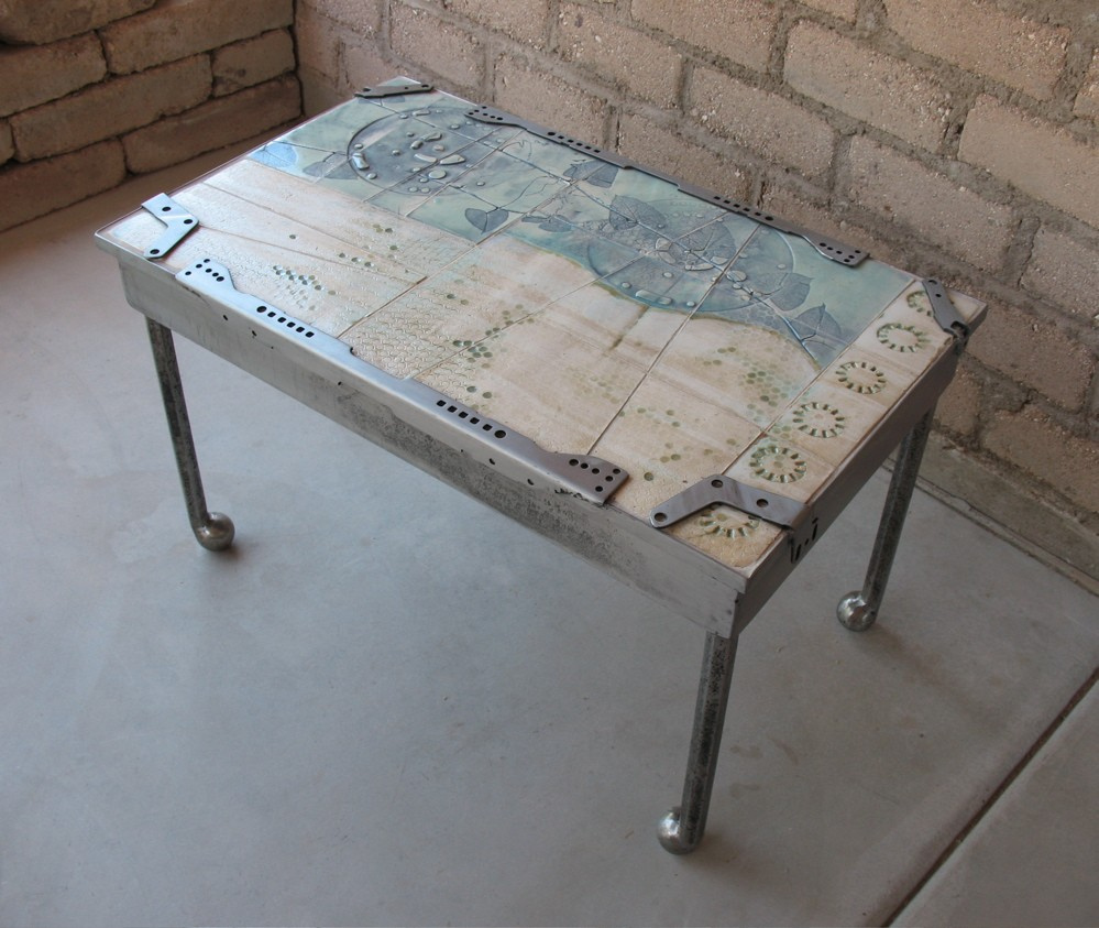 Neil Collins Artist Elegance Of Technology Steel And Ceramic Tile Coffee Table